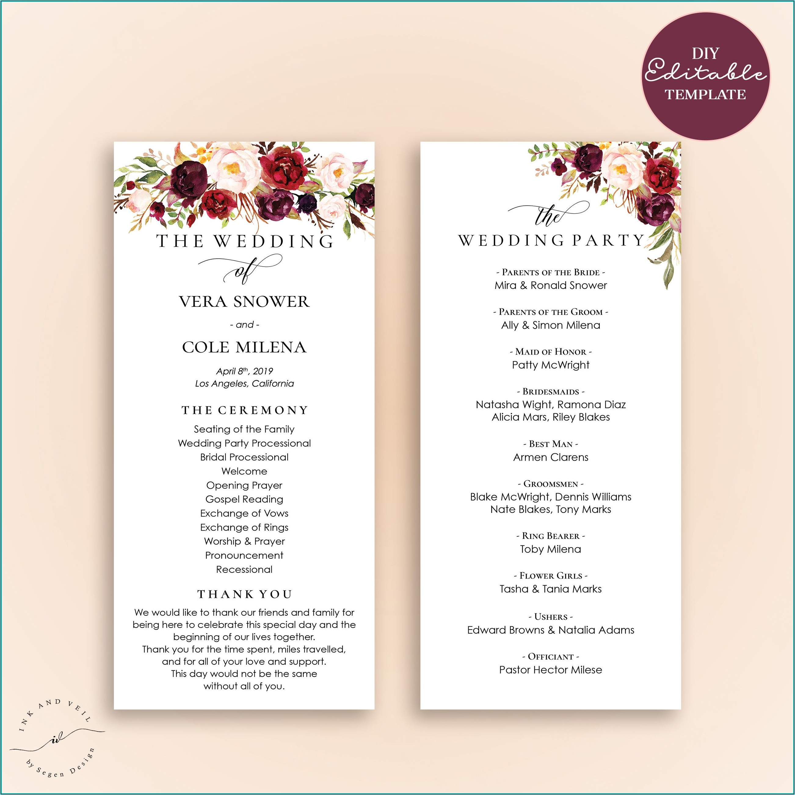 Free Downloadable Wedding Program Templates Pdf