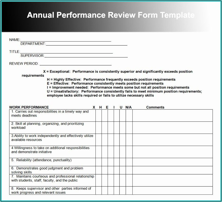 Free Employee Review Template Word