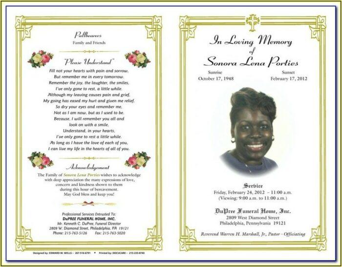 Free Funeral Obituary Program Template
