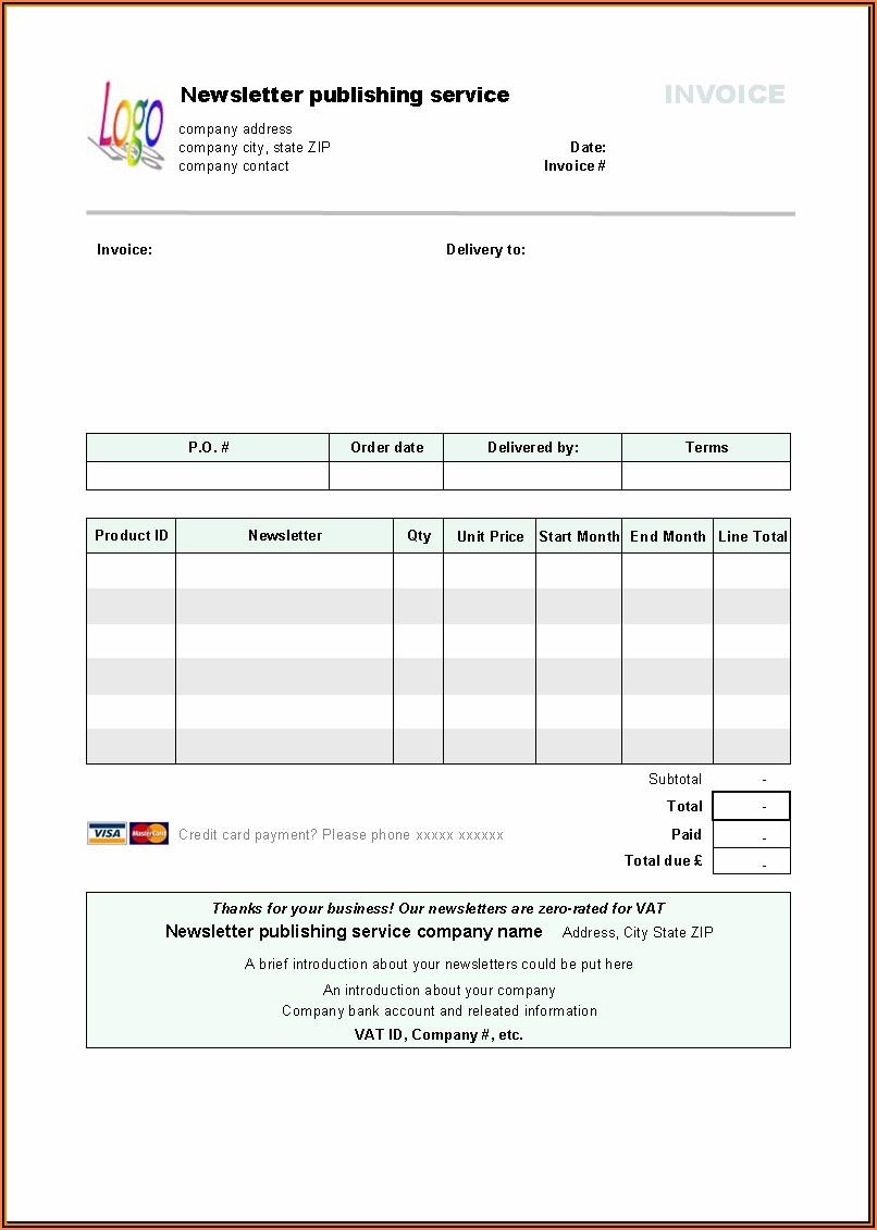Free Invoice Form Template
