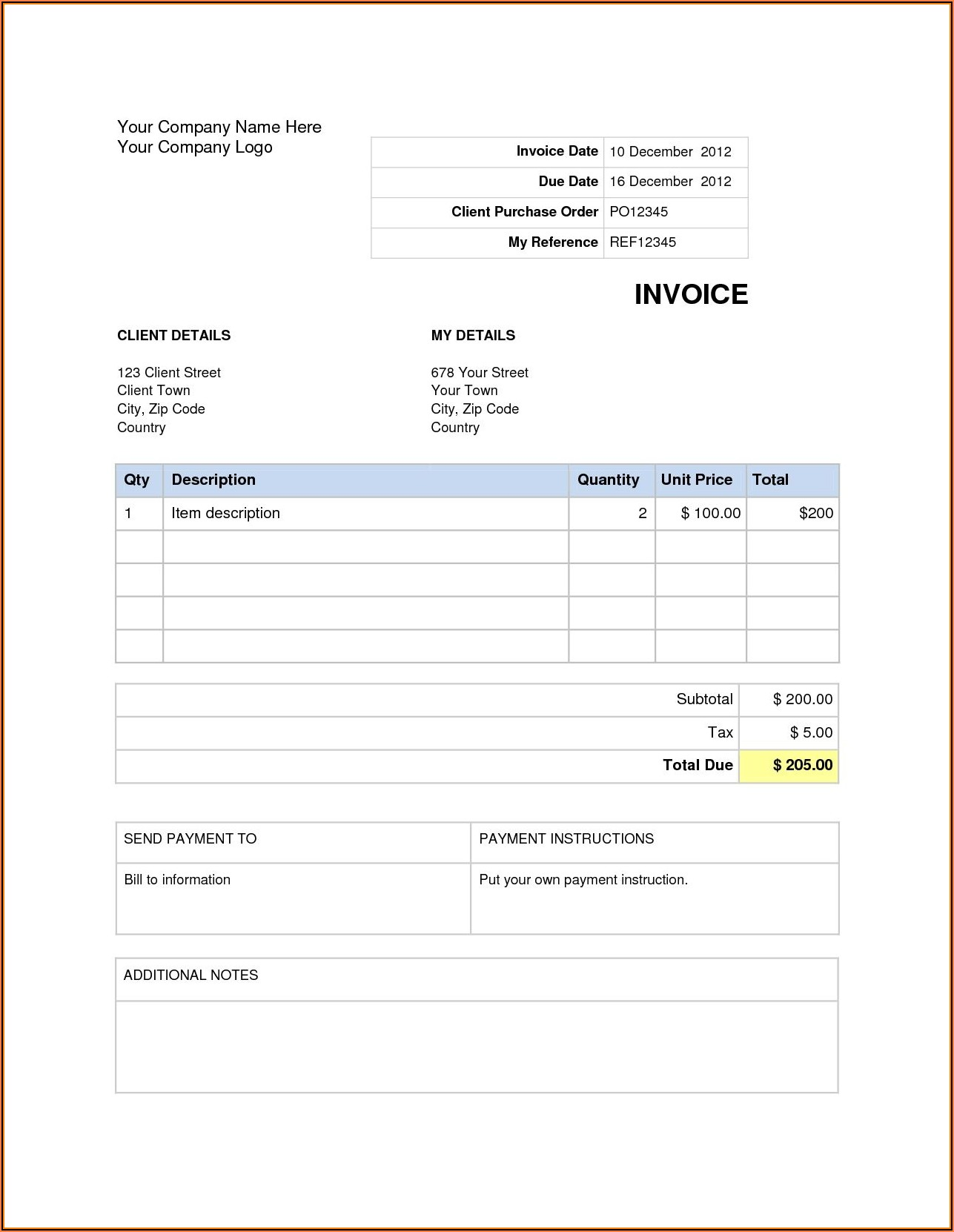 Free Invoice Word Document Template