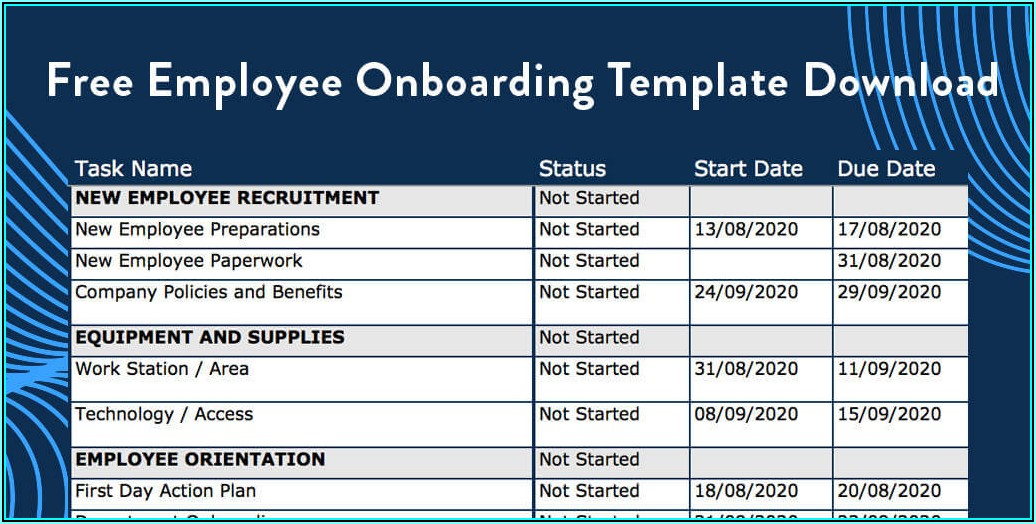 Free Onboarding Template Excel