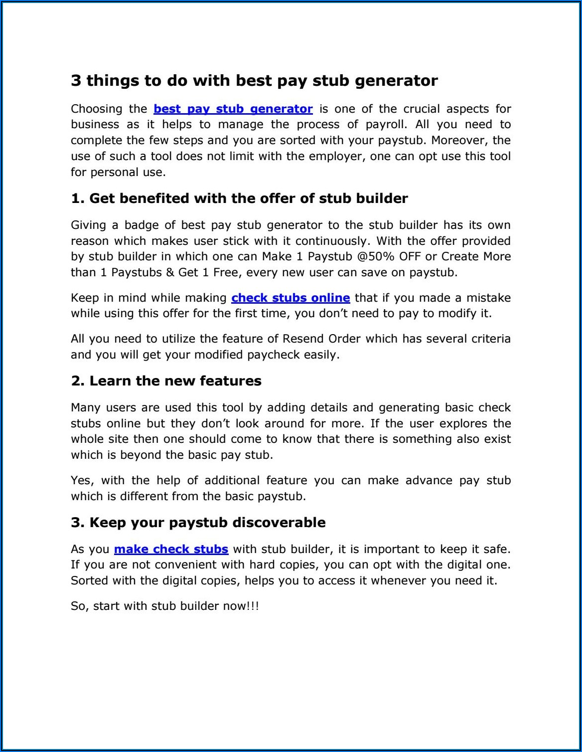Free Pay Stub Creator Online