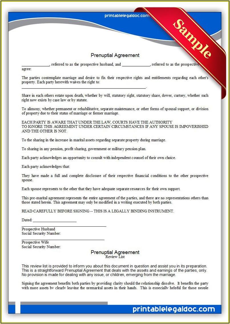 Free Prenuptial Agreement Template Word