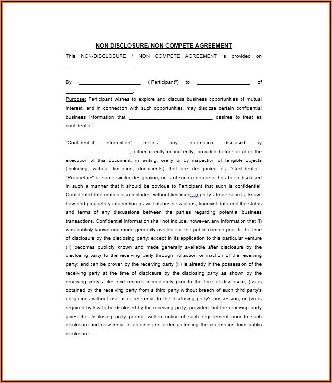 Free Printable Non Disclosure Agreement Form
