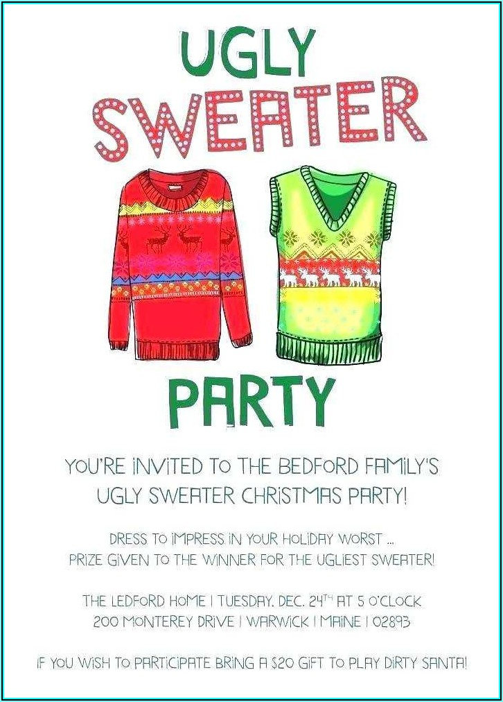 Free Printable Ugly Sweater Party Invitation Template Free