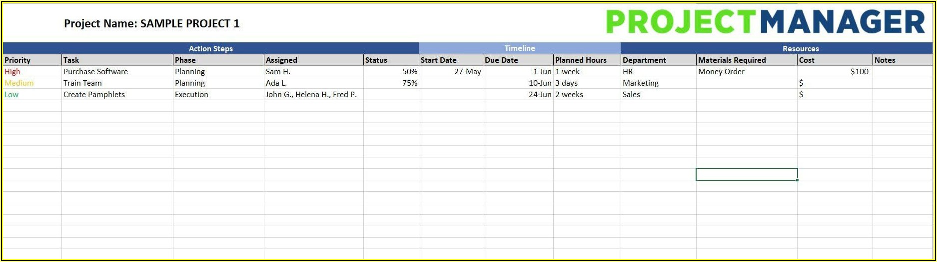 Free Project Action Plan Template Excel