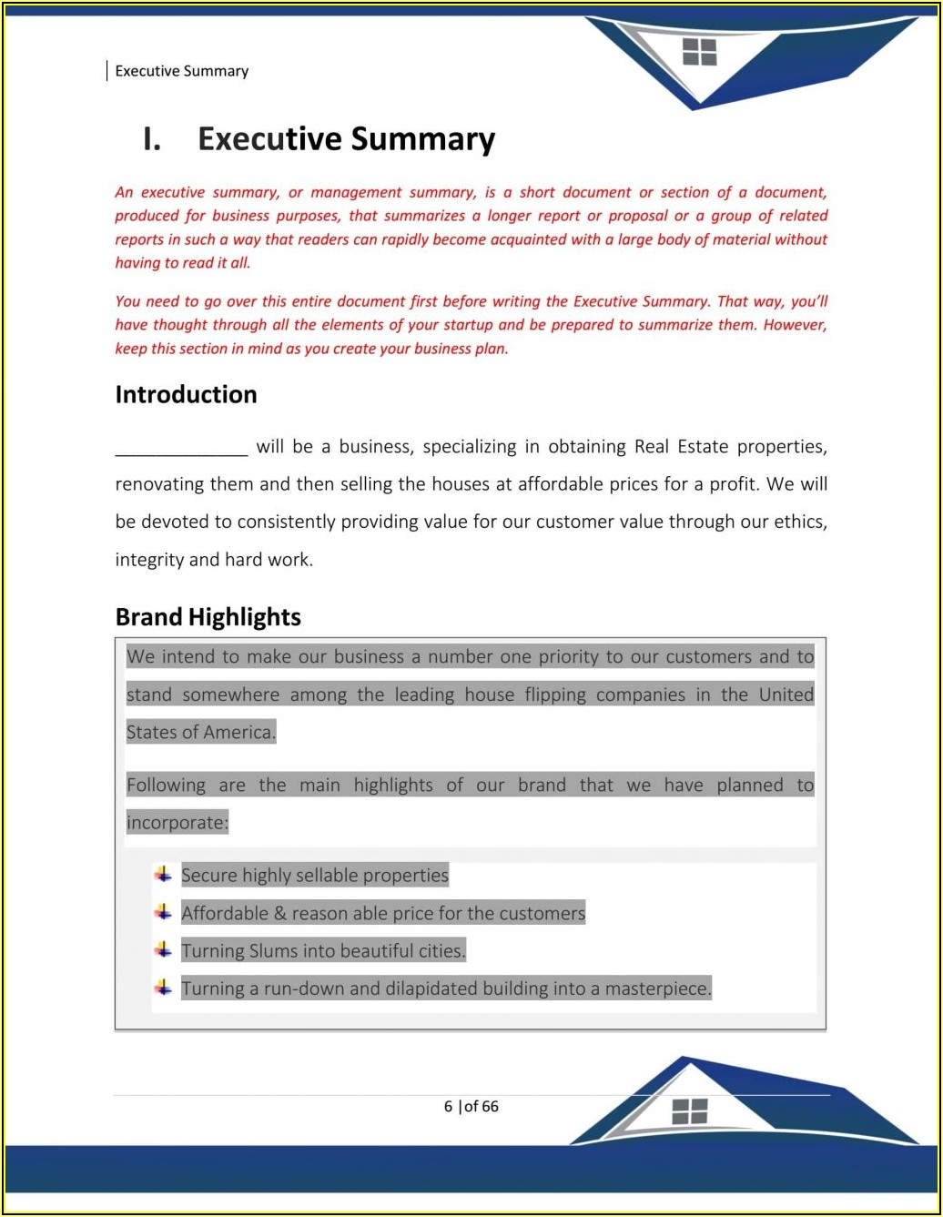 Free Real Estate Agent Business Plan Template