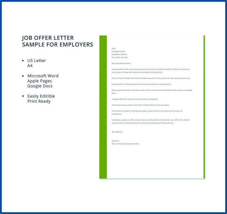 Free Sample Job Offer Letter Template
