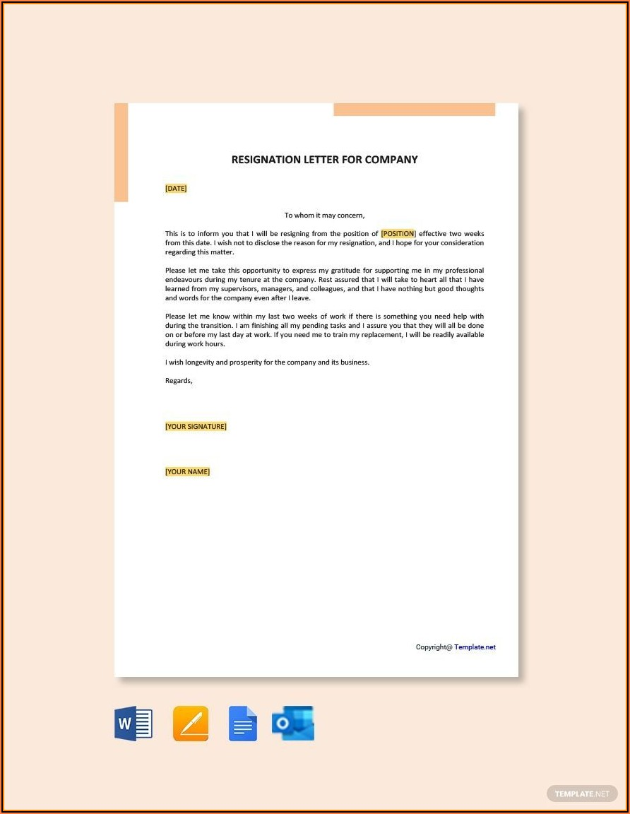 Free Template For Resignation Letter Download