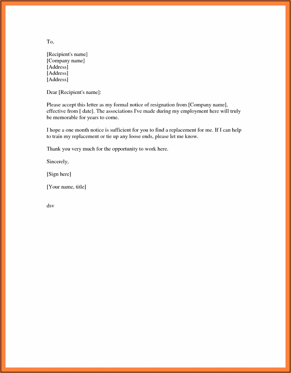 Free Template Resignation Letter Uk