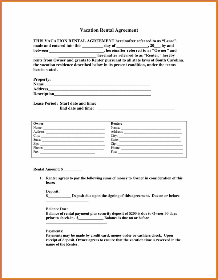 Free Vacation Rental Agreement Template Word