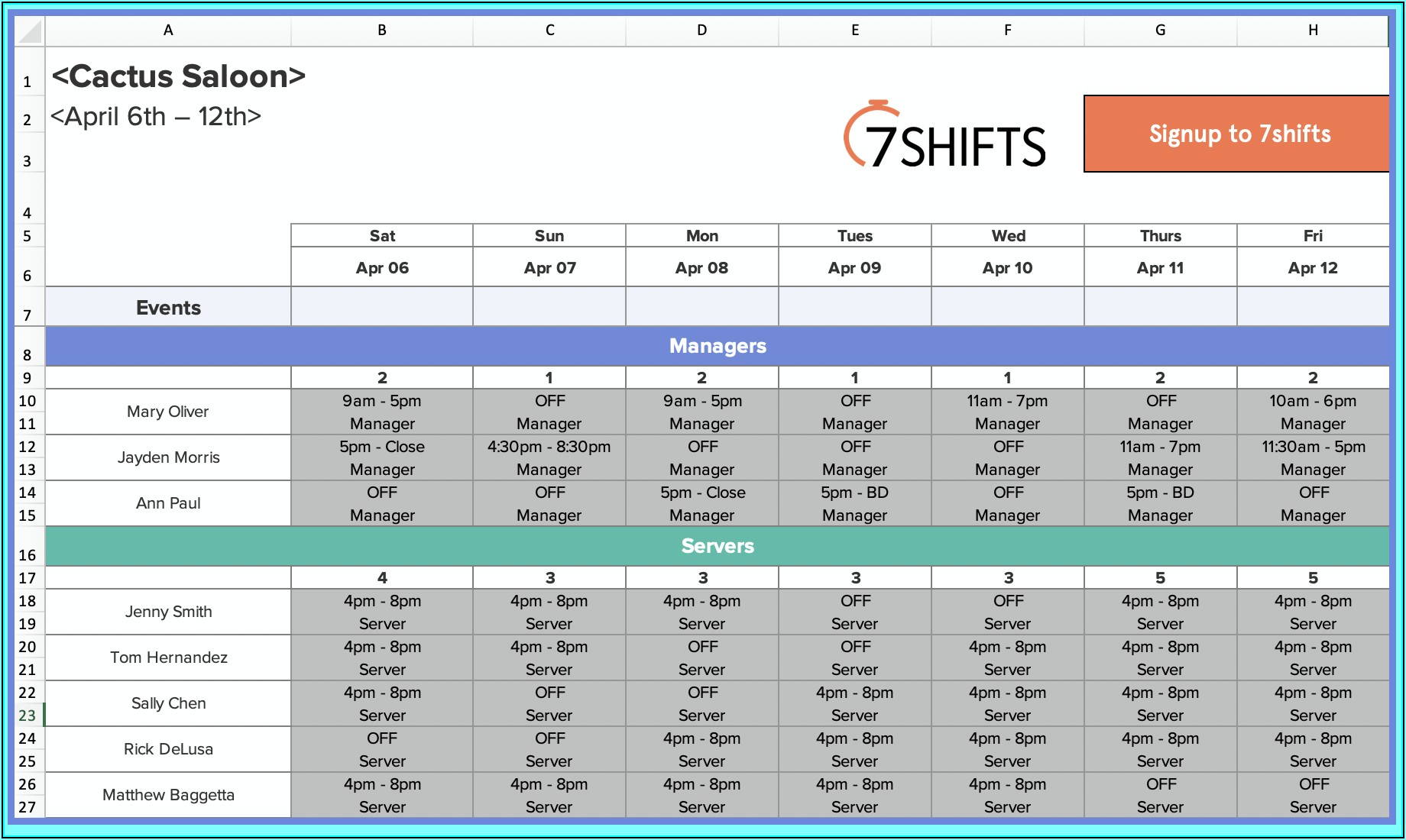 Free Weekly Employee Work Schedule Template Excel