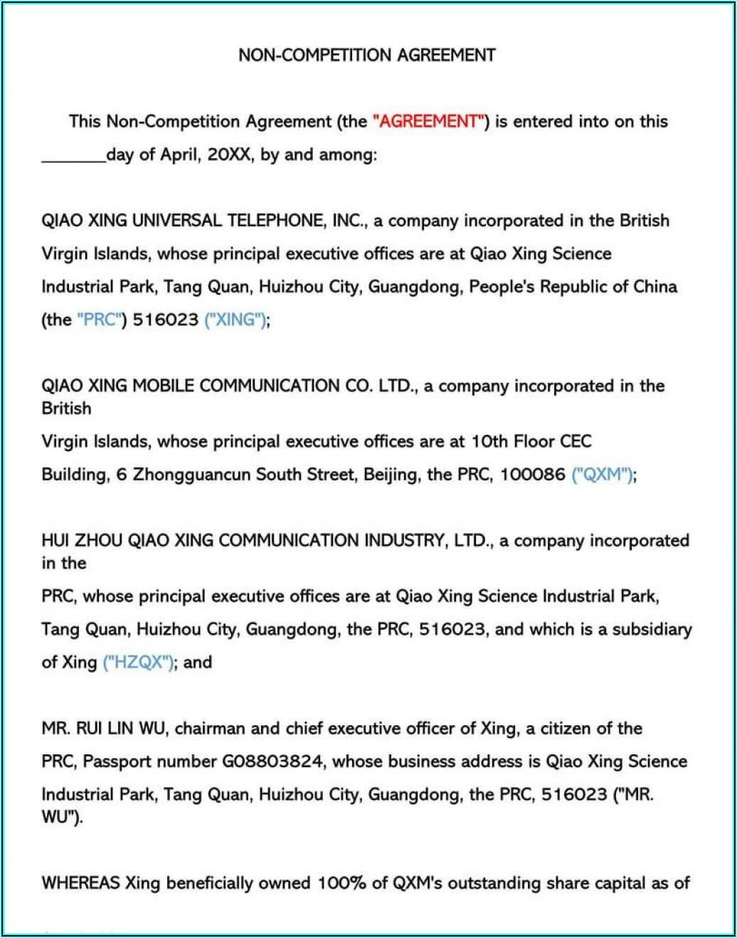Freelance Non Compete Agreement Template