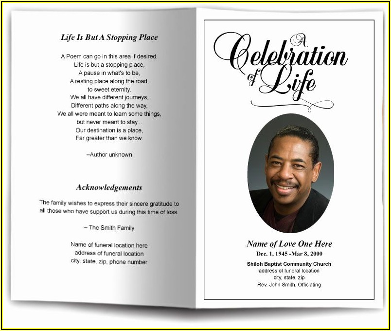 Funeral Obituary Program Template