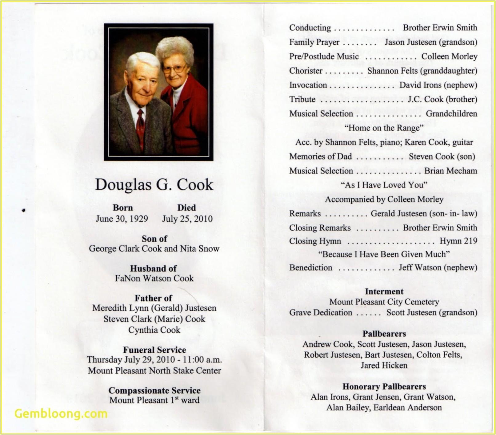 Funeral Service Obituary Program Samples