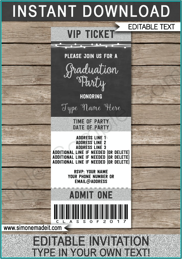Graduation Ticket Template