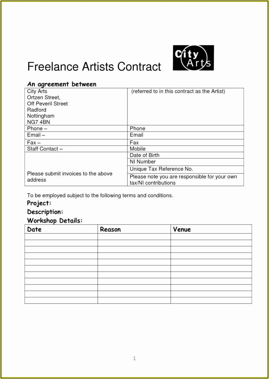 Hair And Makeup Artist Contract Template
