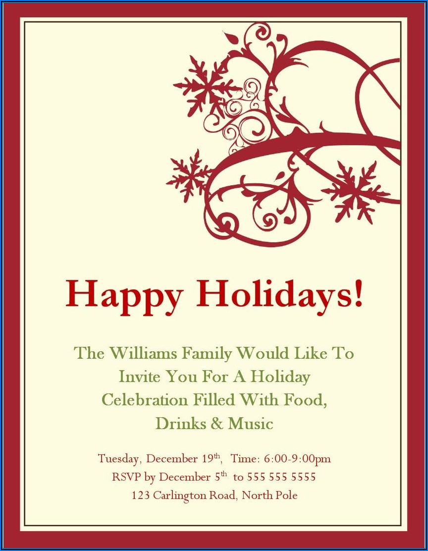 Holiday Invitation Templates Microsoft Word