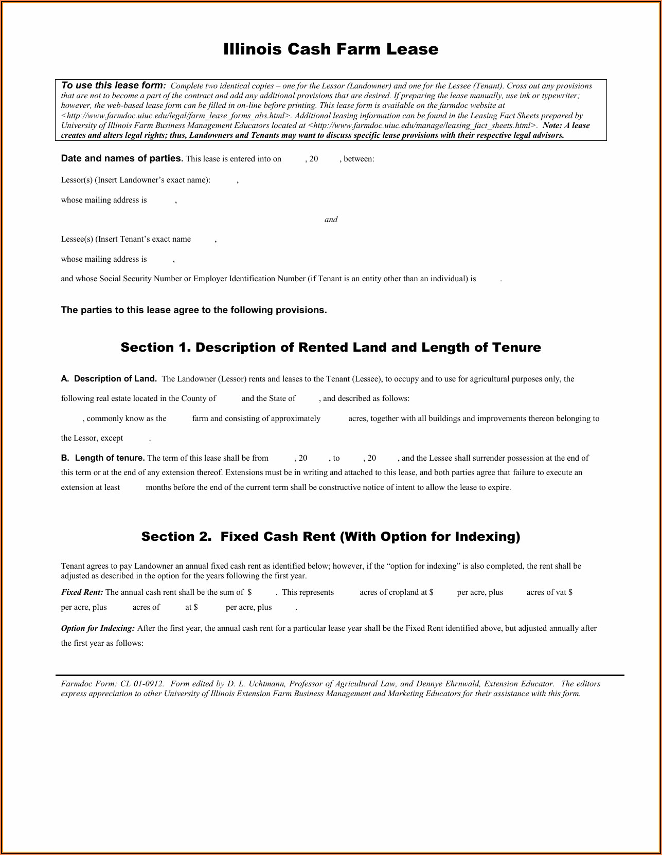 Illinois Cash Farm Lease Template