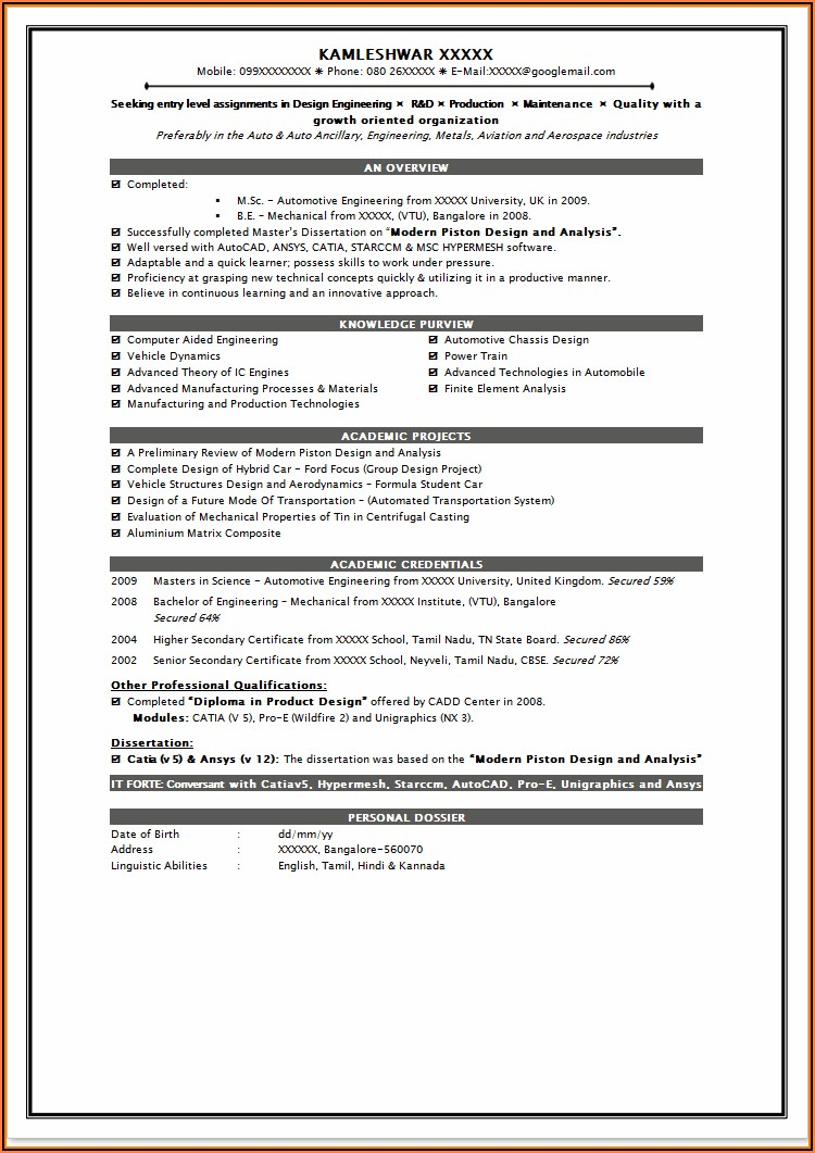 Impressive Resume Templates For Freshers