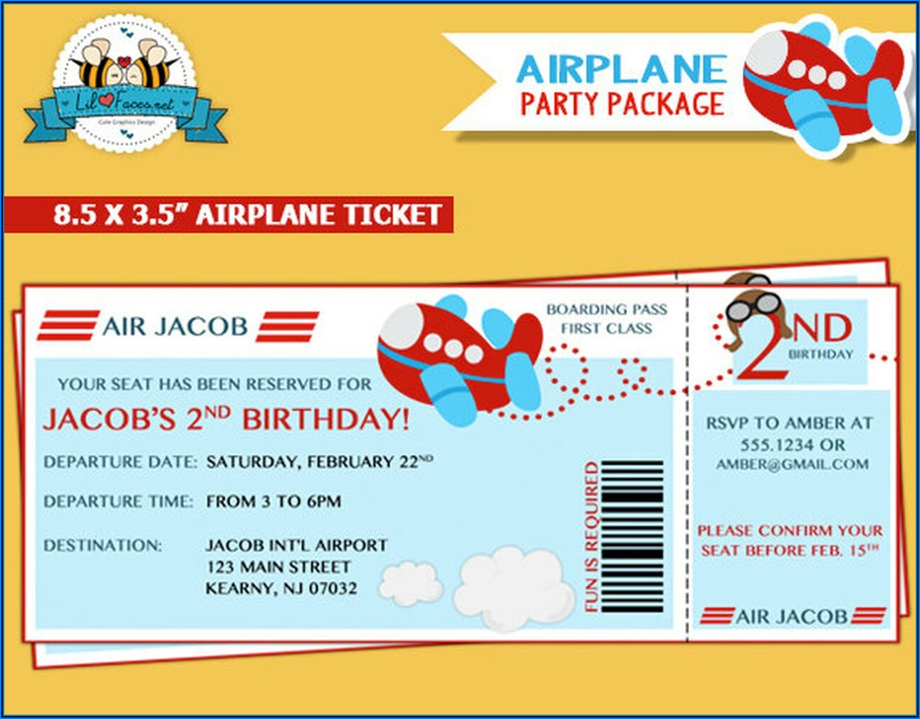 Invitation Airplane Ticket Template
