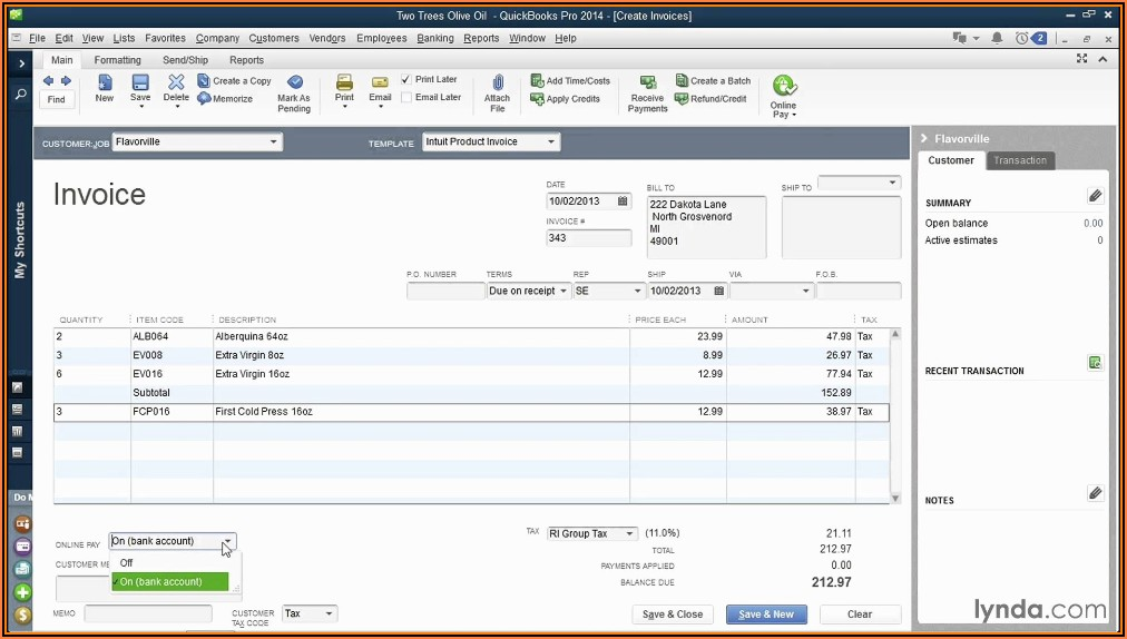 Invoice Templates For Quickbooks Online