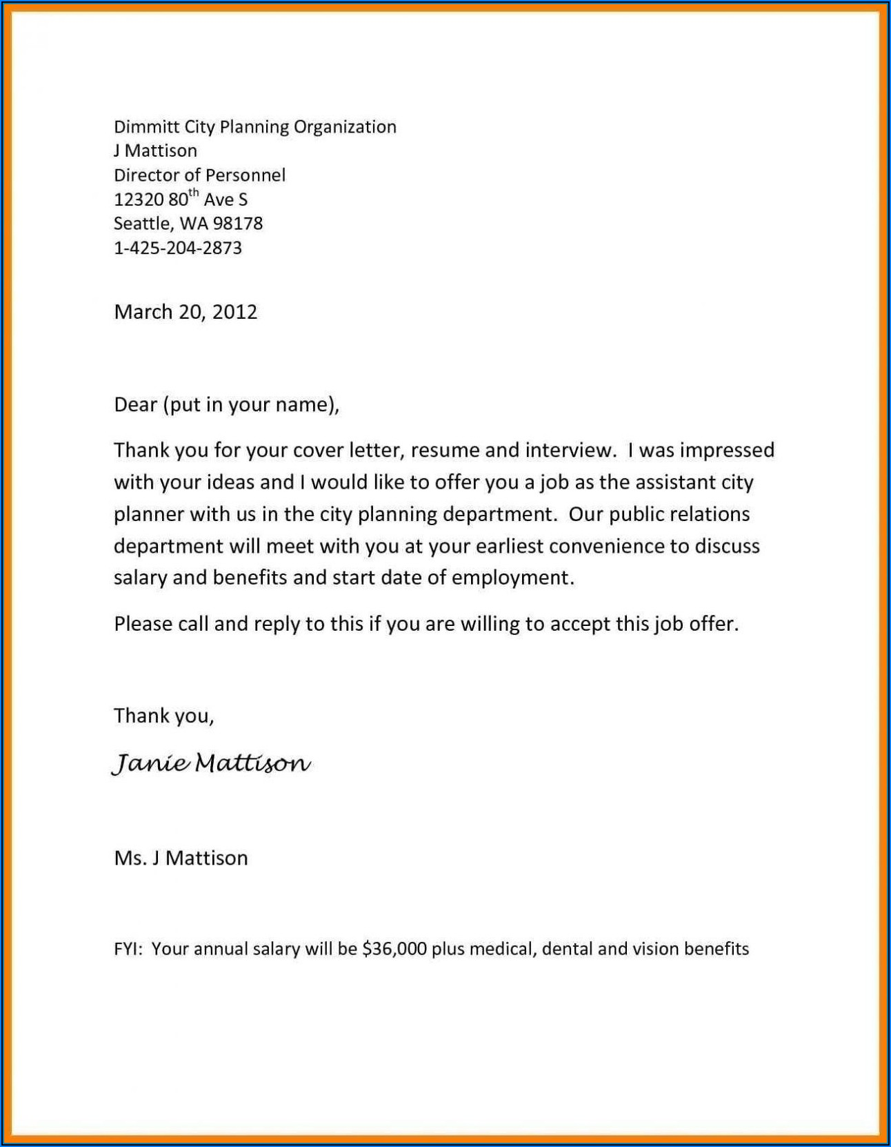 Job Offer Letter Template Free