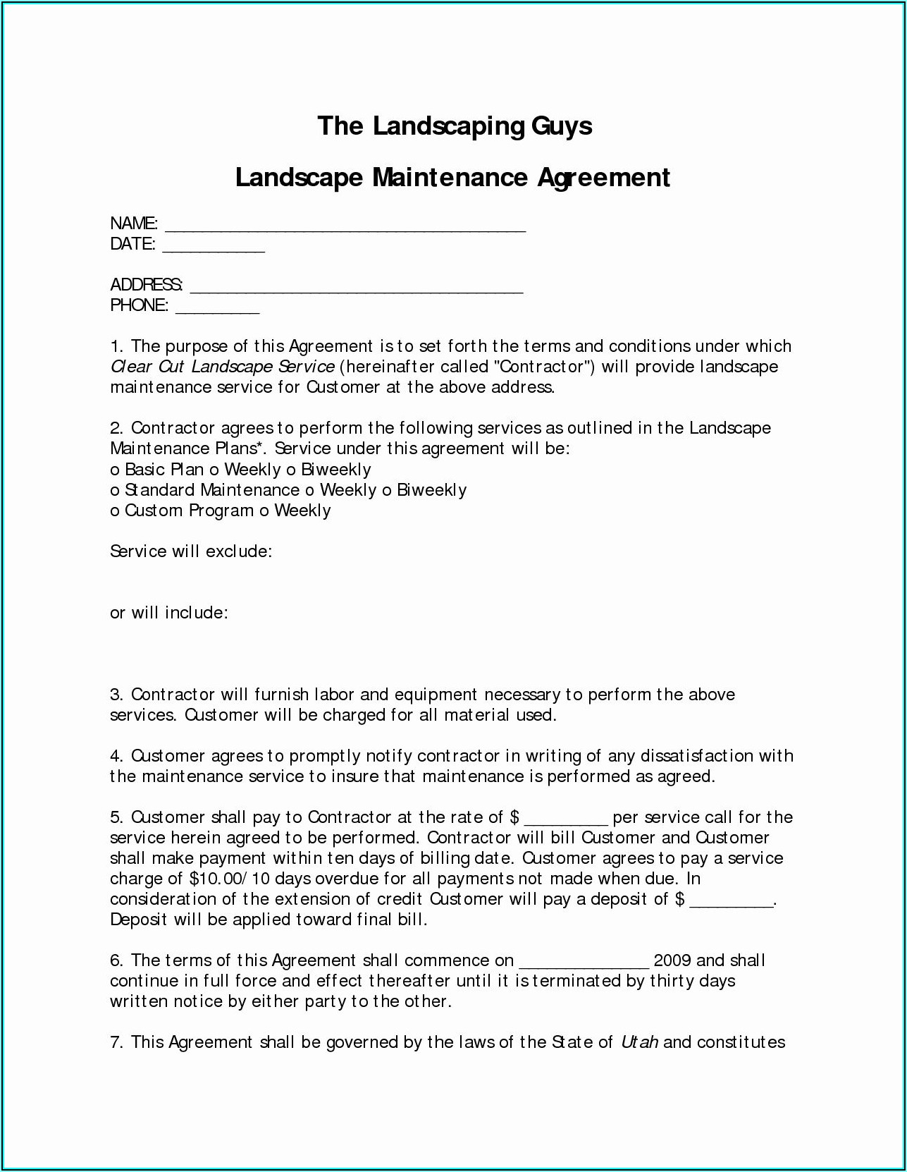Landscape Contract Template