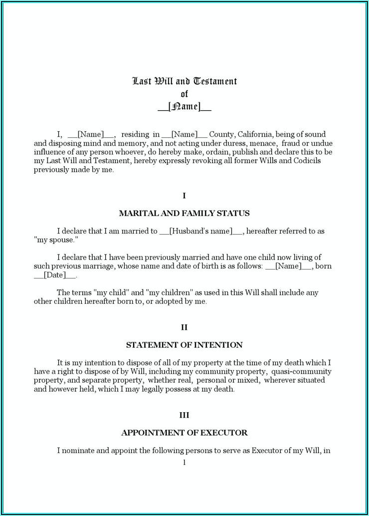 Last Will And Testament Template California