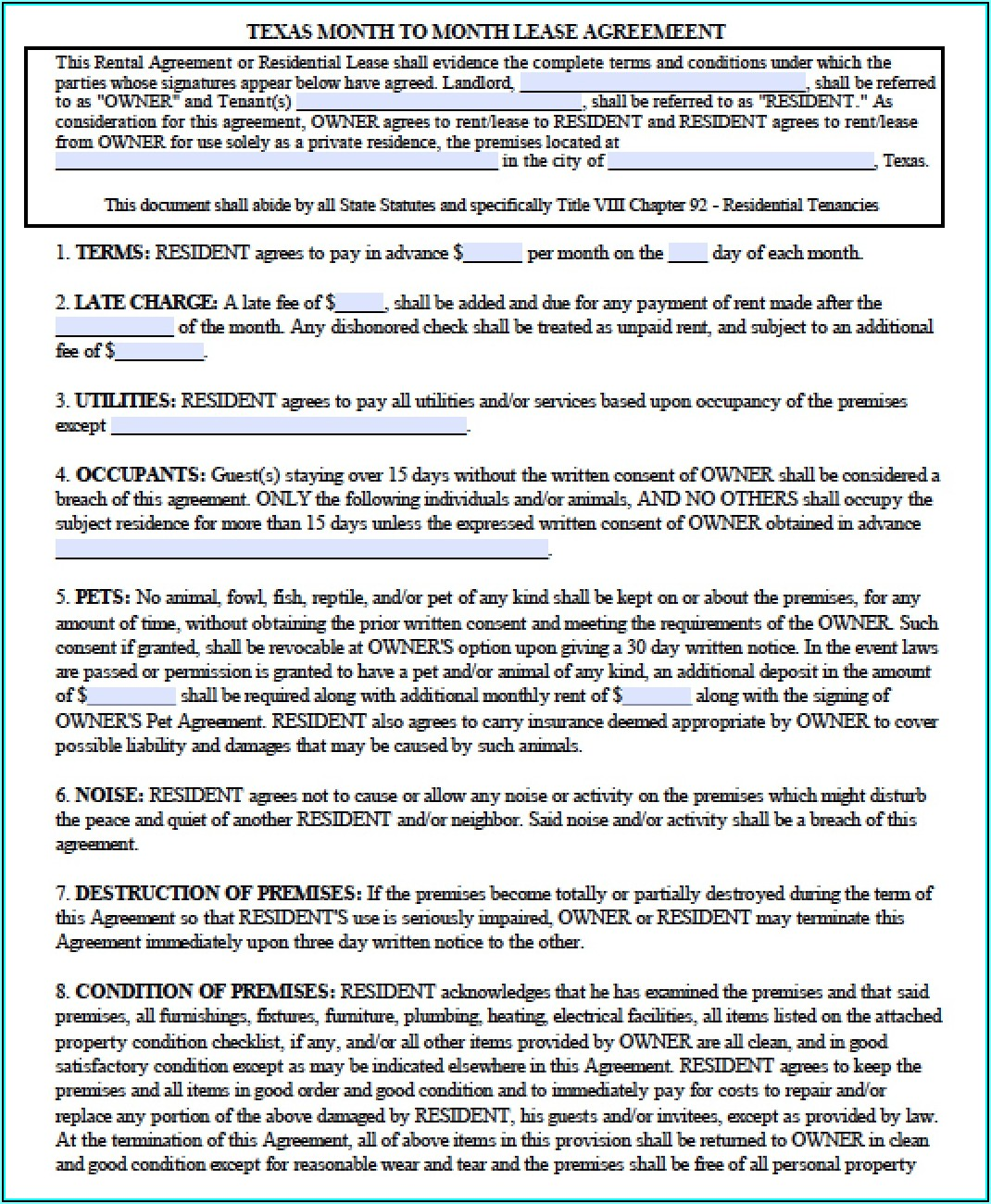 Lease Agreement Template For Texas