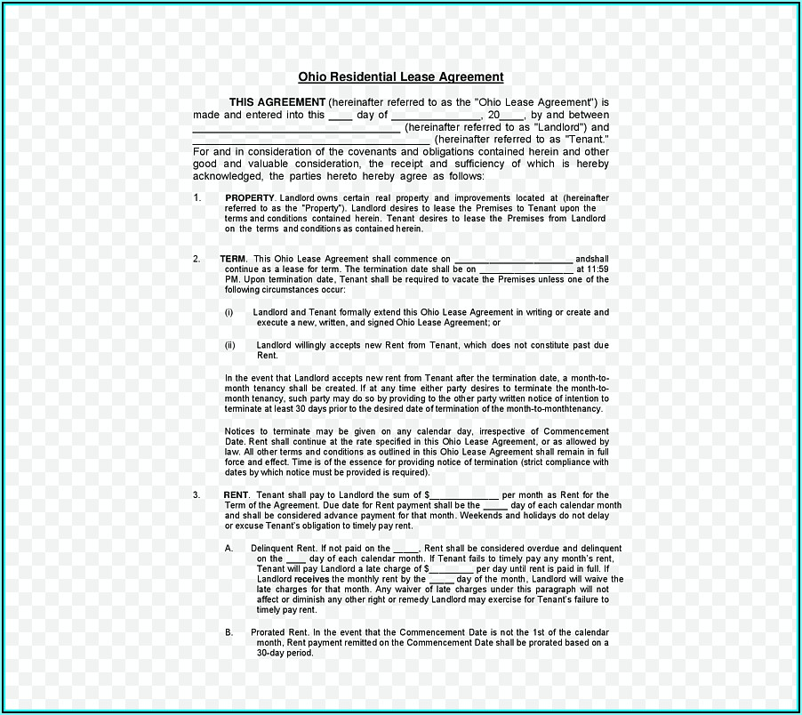Lease Contract Template Texas