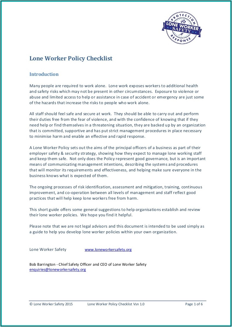 Lone Working Policy Sample