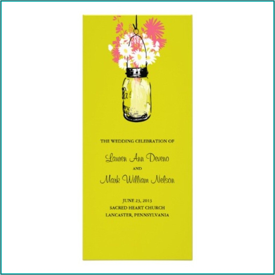 Mason Jar Wedding Program Template Free