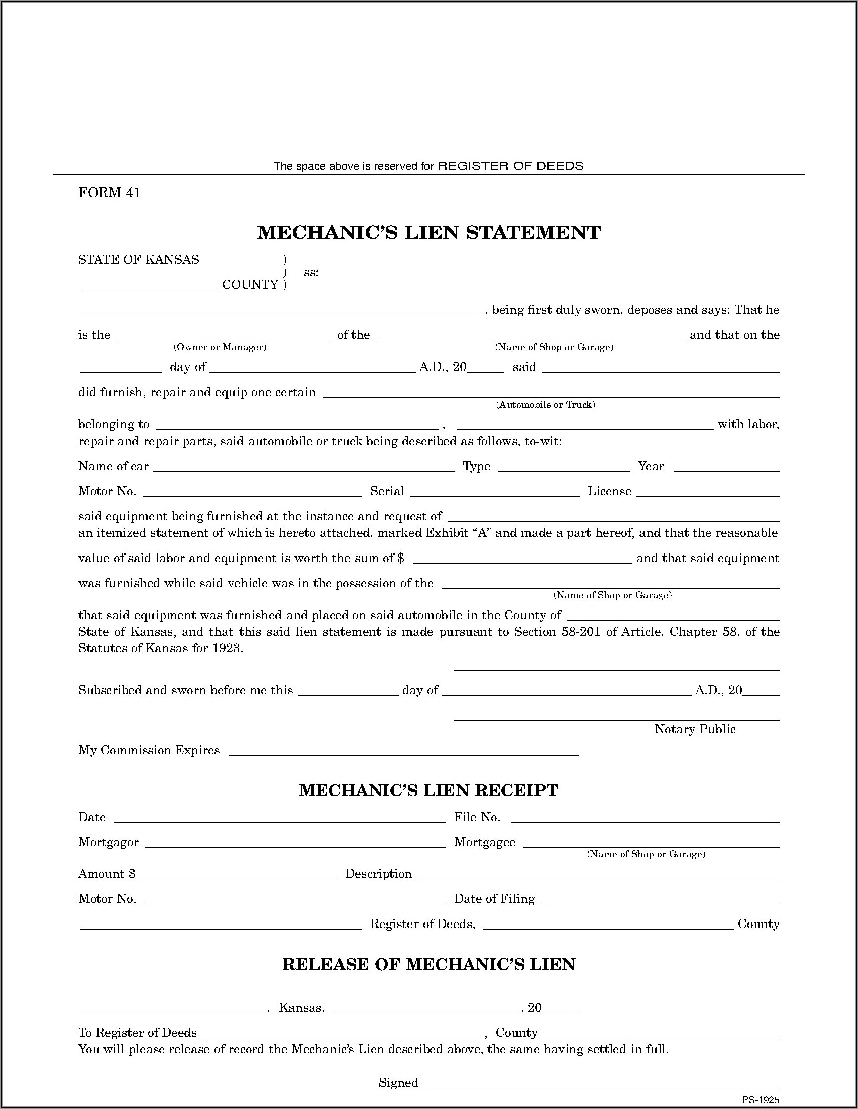 Mechanics Lien Waiver Form Colorado