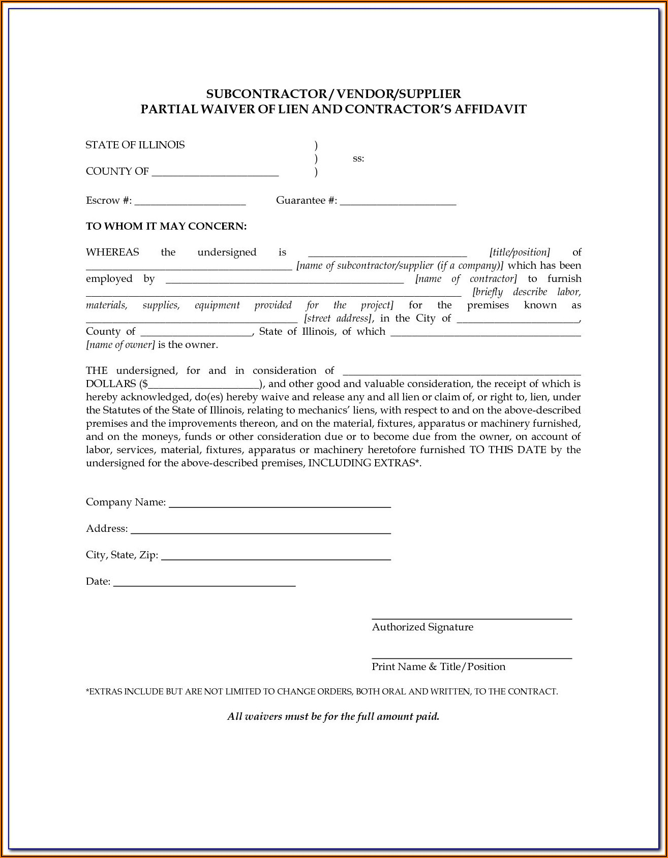 Mechanics Lien Waiver Form Massachusetts
