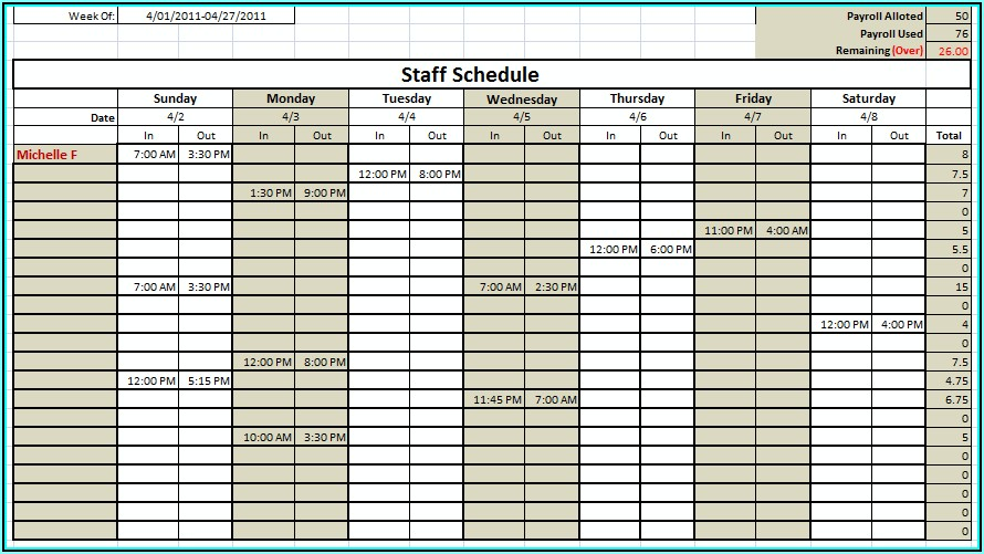 Medical Staff Scheduling Template