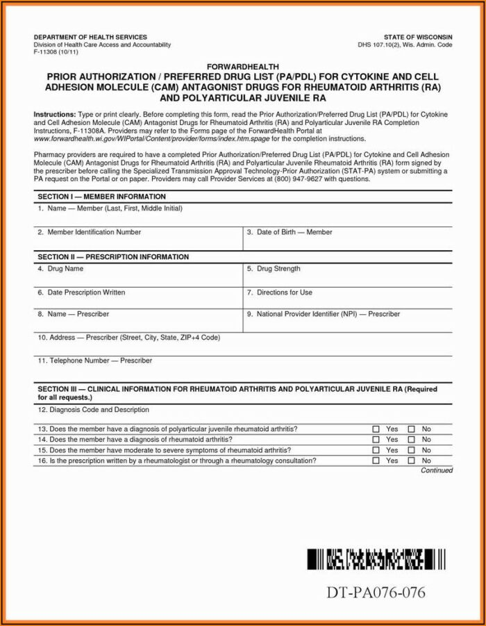 Medicare Part D Prior Auth Form For Medications