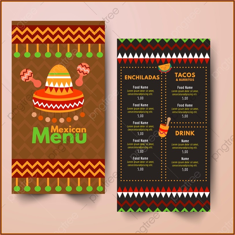 Mexican Restaurant Menu Templates Free Download