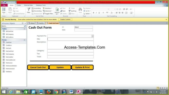 Ms Access Invoice Template