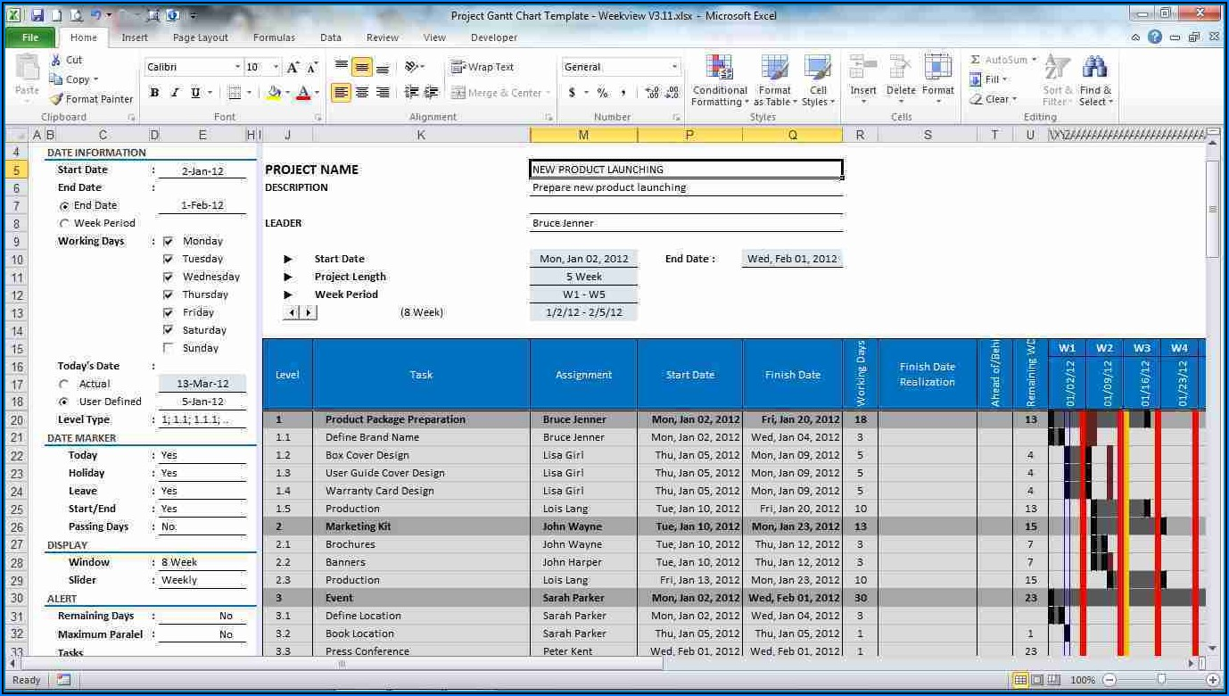 Ms Excel Project Plan Template Free