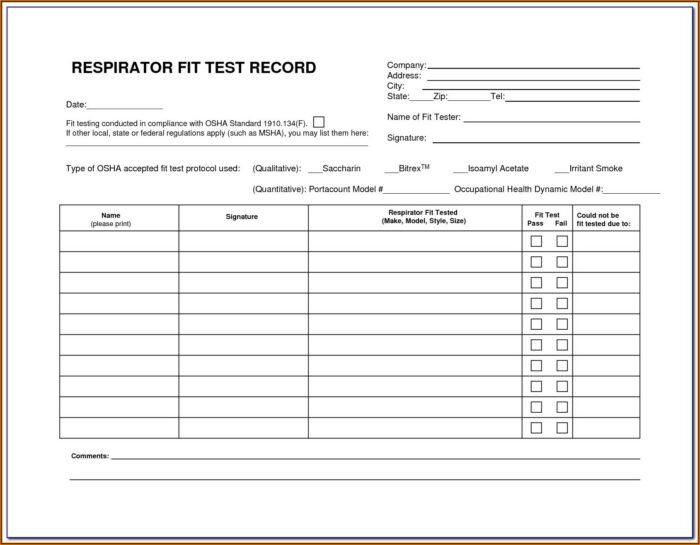 N95 Fit Test Form