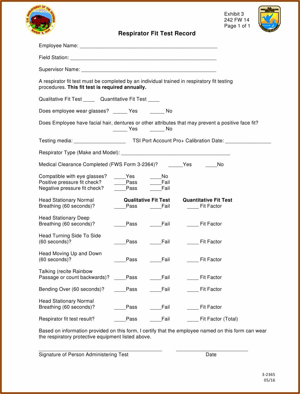 N95 Qualitative Fit Test Form