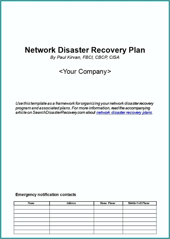 Network Disaster Recovery Plan Template Free