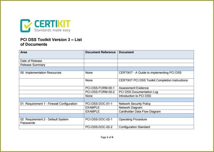 Pci Dss Documentation Templates Toolkit
