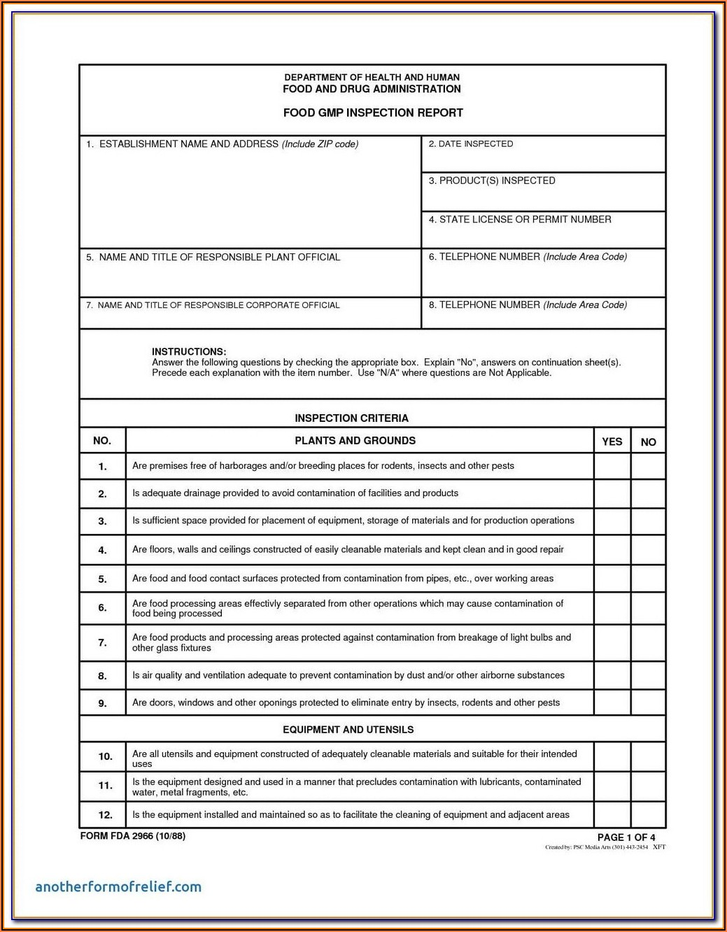 Pest Control Inspection Report Form