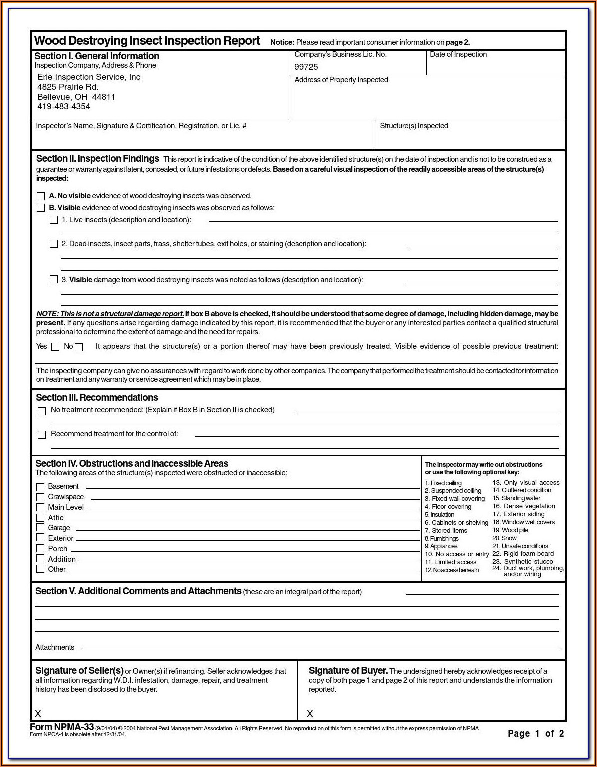 Pest Control Inspection Report Format