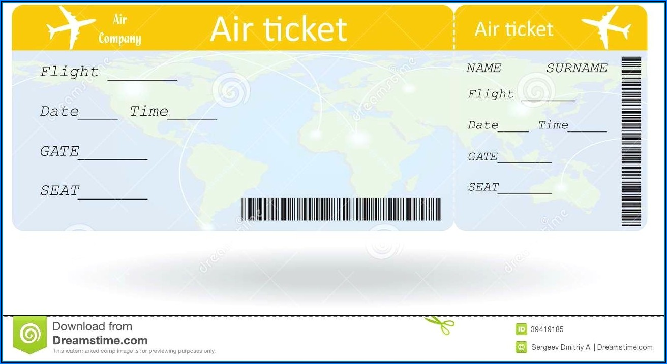 Plane Ticket Invitation Template Free Download