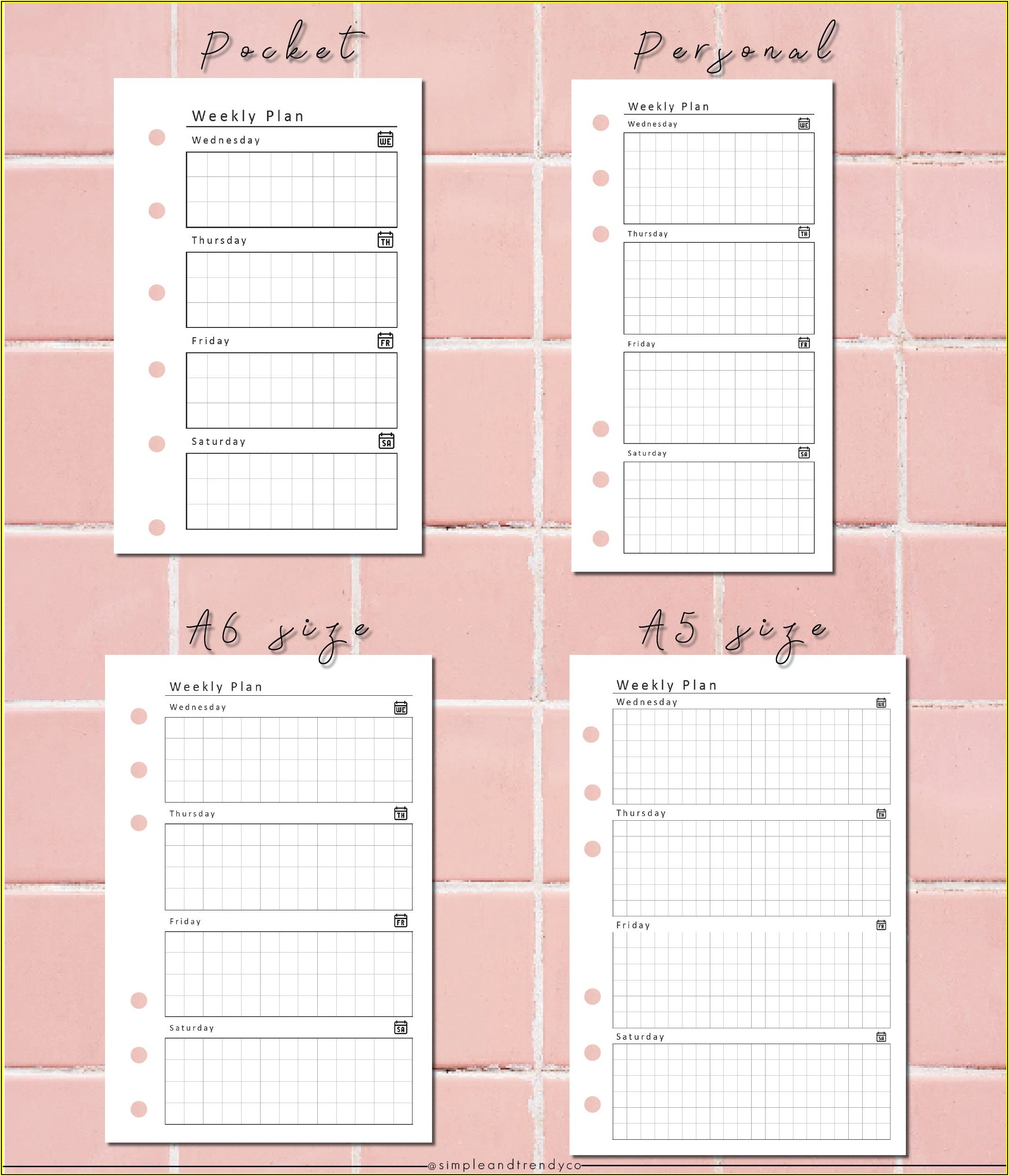 Pocket Schedule Template