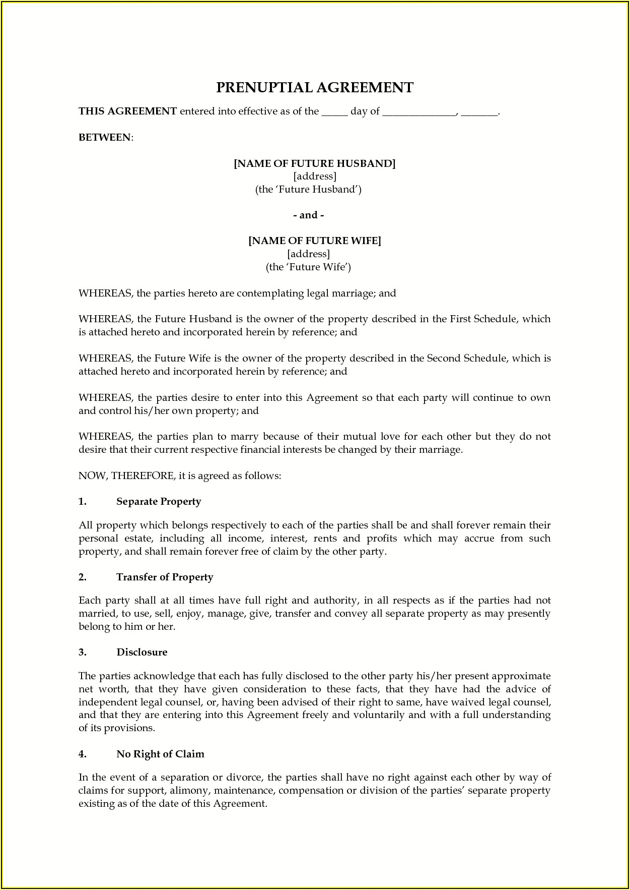 Prenup Agreement Template Word